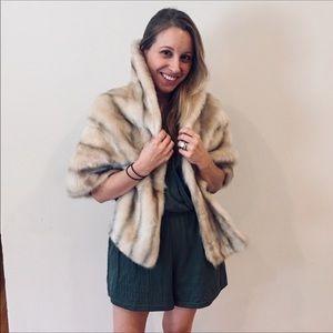 🌹Glenoit Faux Fur Brown and Cream Stole Wrap